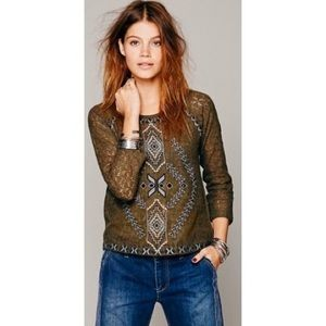 Free People Changing Directions Lace Green Top